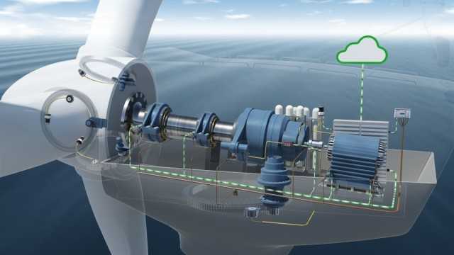 Using sensors in vital components enables users to retrieve information on the condition of wind turbines during operation and process it in real time. (Image courtesy of Schaeffler.)