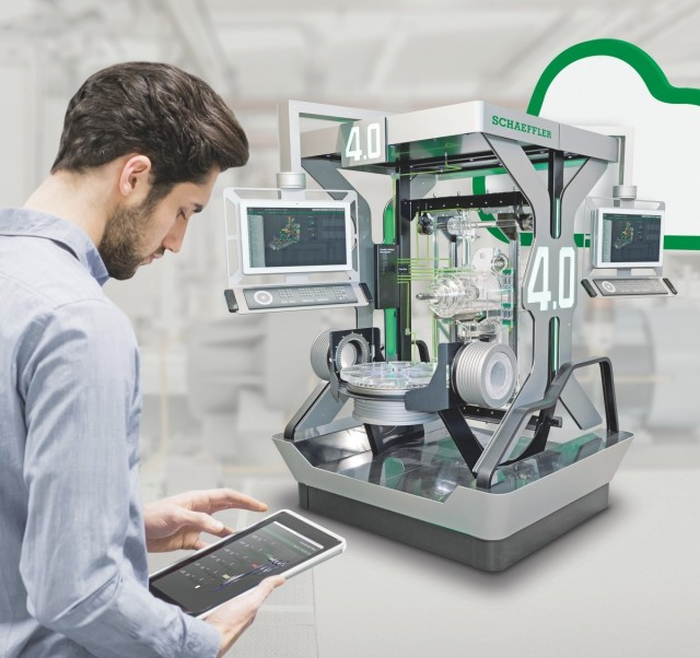 Schaeffler's digital platform technologies are being used for machine tools to systematically improve overall equipment efficiency. (Image courtesy of Schaeffler.)