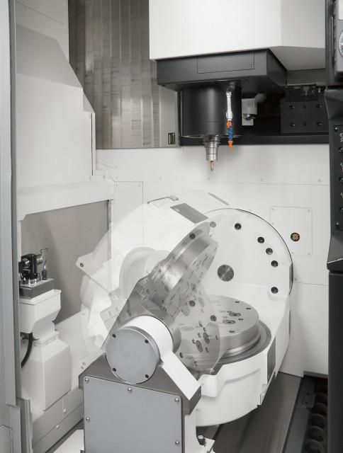 Inside view of the trunnion table of an Okuma MU-4000V 5-axis vertical machining center. (Image courtesy of Okuma.)