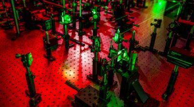 This experimental laser ultrasonic setup in collaborator Nick Boechler's lab will create phonons with nature-defying characteristics. (Image courtesy of Nicholas Boechler.)
