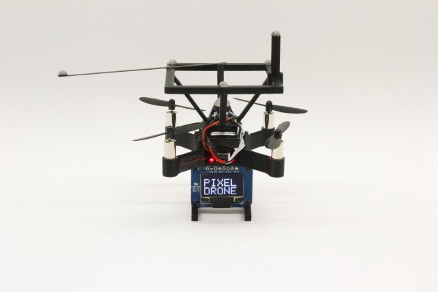PixelDrones feature a single LED and a small dot matrix display. (Image courtesy of Queens University.)