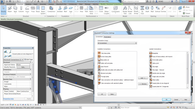 Autodesk Steel Connections for Revit in Revit 2017. (Image courtesy of Autodesk.)