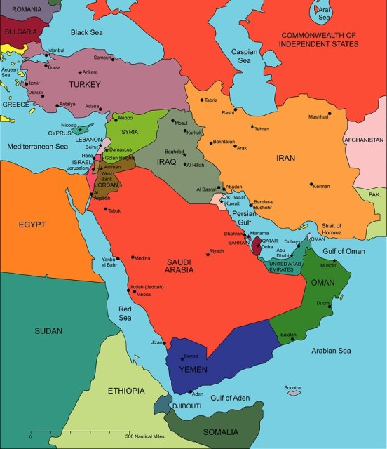 Map of the Middle East. Note the UAE's strategic position in the southeast of the Persian Gulf.