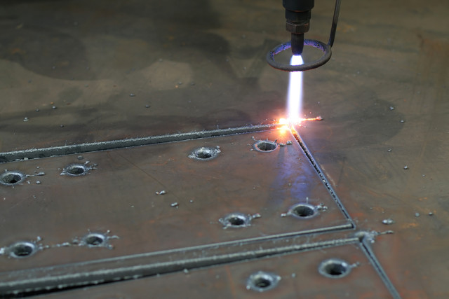 Plasma cutting.