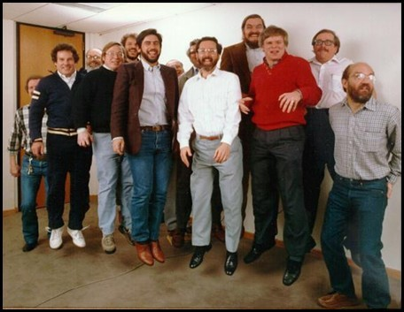 "Autodesk's ""flying founders."" From left to right: Rudolf Künzli, Mike Ford, Dan Drake, Mauri Laitinen, Greg Lutz, David Kalish, Lars Moureau, Richard Handyside, Kern Sibbald, Hal Royaltey, Duff Kurland, John Walker, Keith Marcelius. (Image courtesy of Shaan Hurley, Between the Lines.)"