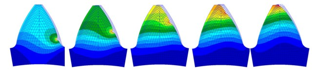 Shaded colors show the relative stress on gear teeth. (Image courtesy of MSC Software.)