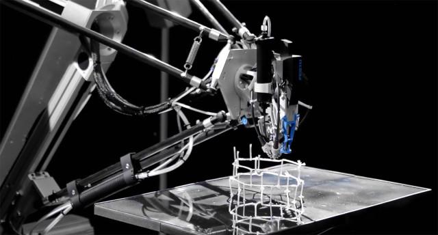 The 3D Cocooner of Festo hardens a photopolymer around glass fiber thread into stiff rods. (Image courtesy of Festo/YouTube.)