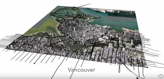 A CityEngine-generated map of Vancouver, British Columbia. (Image courtesy of CityEngineTV.)