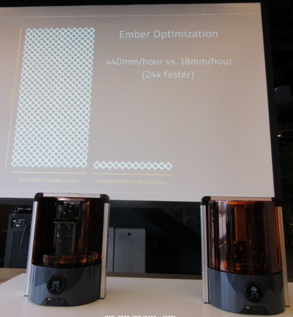 The optimized ember printed at a speed of 440mm/hr. versus the 18mm/hr. of its slower counterpart. (Image courtesy of Roopinder Tara.)
