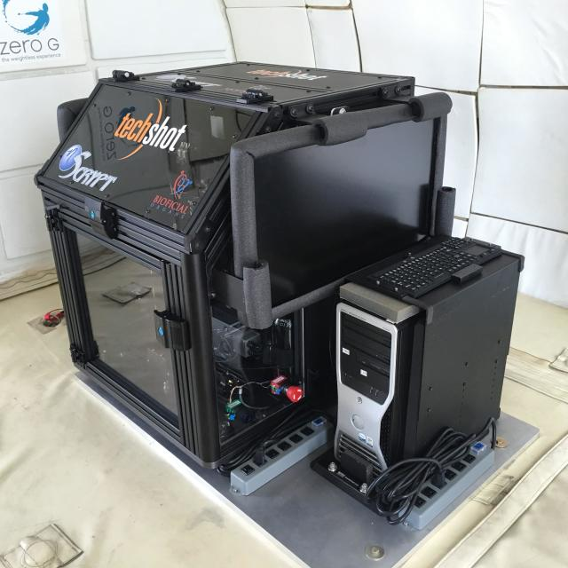 The zero gravity bioprinter aboard the Zero Gravity Corporation aircraft. (Image courtesy of Techshot.)