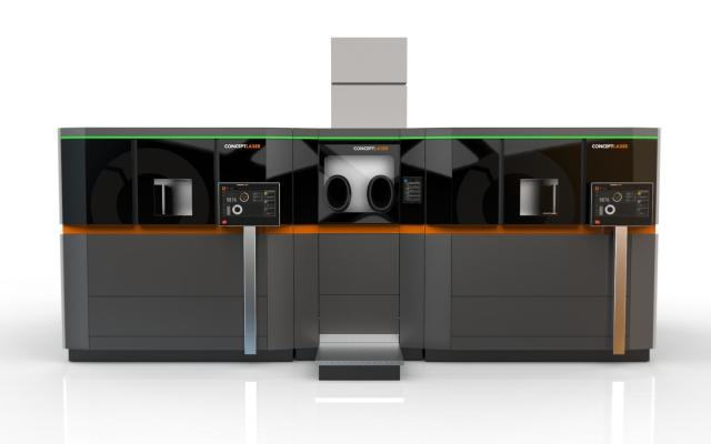 Concept Laser's AM Factory of Tomorrow consists of different modules for printing a part and removing the part. (Image courtesy of Concept Laser.)