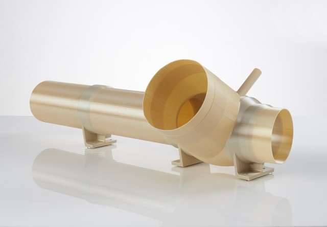 A 3D-printed ECS duct utilized to provide cooling to the electronics and avionics aboard the Atlas V. (Image courtesy of Stratasys.)