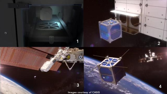 NanoRacks and Made In Space will 3D print cubesats for deployment from the ISS. (Image courtesy of the Center for the Advancement of Science in Space.)
