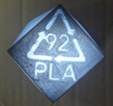 A PLA symbol for inscribing into 3D-printed objects to open up greater recyclability in 3D printing. (Image courtesy of Resources, Conservation and Recycling.)