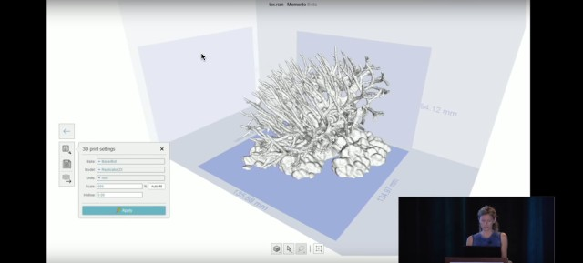 3D print settings in ReMake's beta version, demonstrating the 3D printing of coral captured by thehydro.us for a scientific project on coral research. (Image courtesy of Autodesk.)