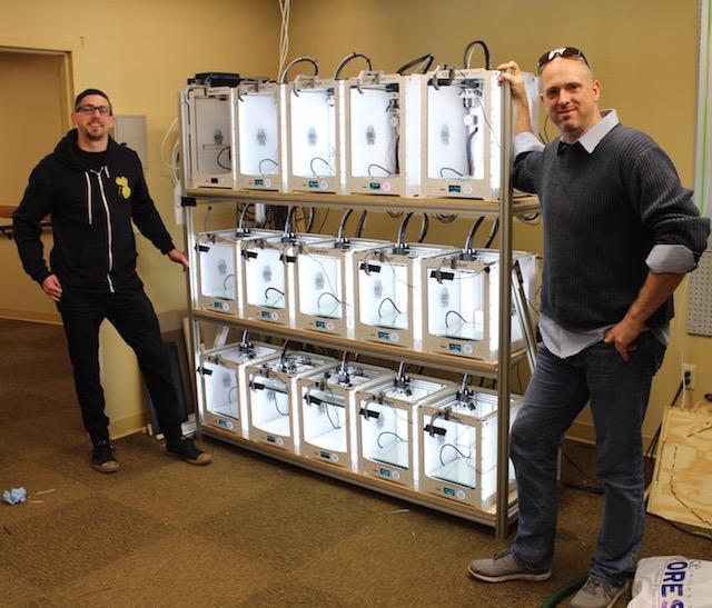The print farm at Duke University. (Image courtesy of 3DPrinterOS.)