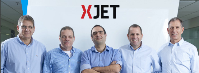 From left to right, the XJet management team: Udi Bloch, COO; Nir Ackerman, CFO;DoronAvramov, VP R&D;DrorDanai, chief brand officer; and Hanan Gothait, founder and CEO.