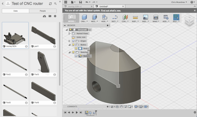 Fusion 360. File management pane on the left side and the traditional design window on the right. The feature tree is a series of breadcrumbs at the bottom of the screen.