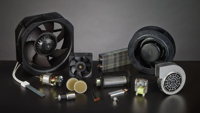 An assortment of industrial fans, blowers, heating elements and motors. (Image courtesy Pelonis Technologies.)