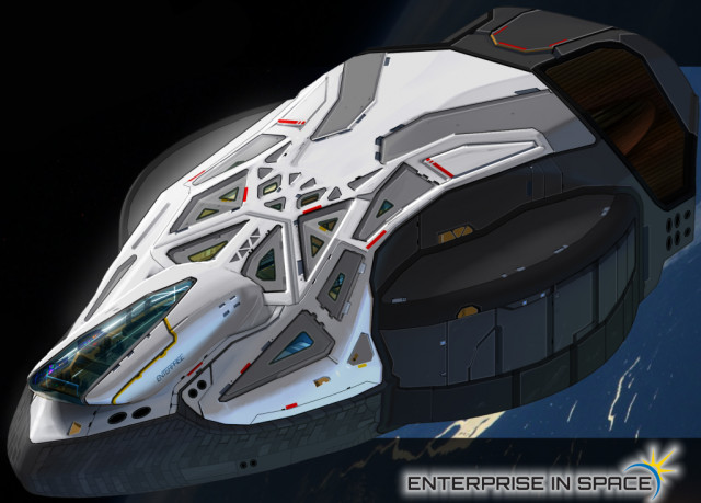The science fiction-inspired design for the NSS Enterprise was chosen through a crowdsourcing contest. (Image courtesy of EIS.)