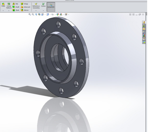 Figure 2. SOLIDWORKS part created on the Xi PowerGo XT.