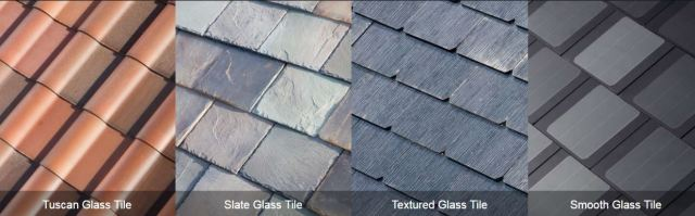 Tesla Roof Styles - most expensive (left) to most affordable (right)
