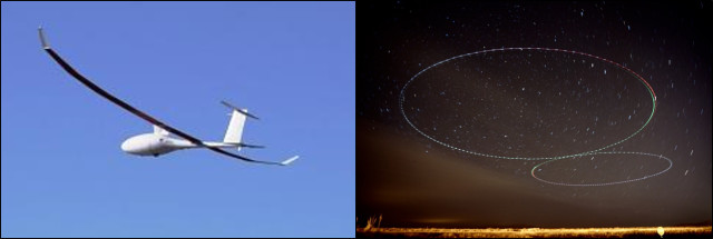 The Vanilla Aircraft VA001, a small diesel-powered airplane under development through DARPA (left), flew for 56 hours recently over Las Cruces, New Mexico (right), setting a new world record for flight duration for its weight class. The airplane is designed to ultimately carry a 30-pound payload at 15,000 feet for up to 10 days without refueling.