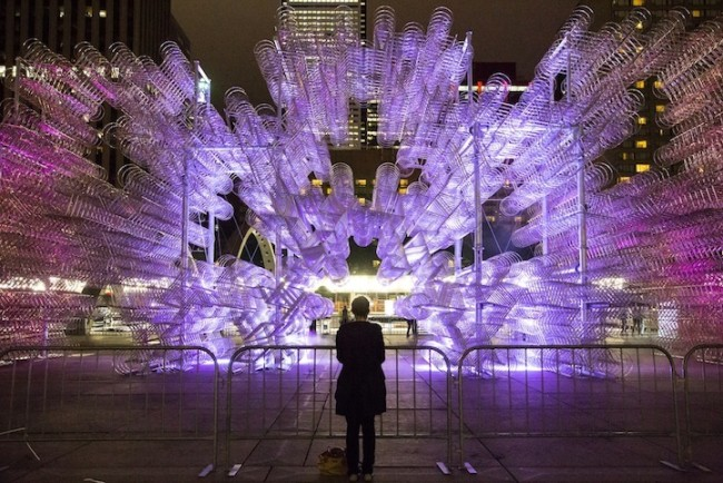 Ai Weiwei, Toronto Nuit Blanche, Forever Bicycles, Bicycle Installation, Nathan Phillips Square, Epistrophy, Modern Art, Woman Watching