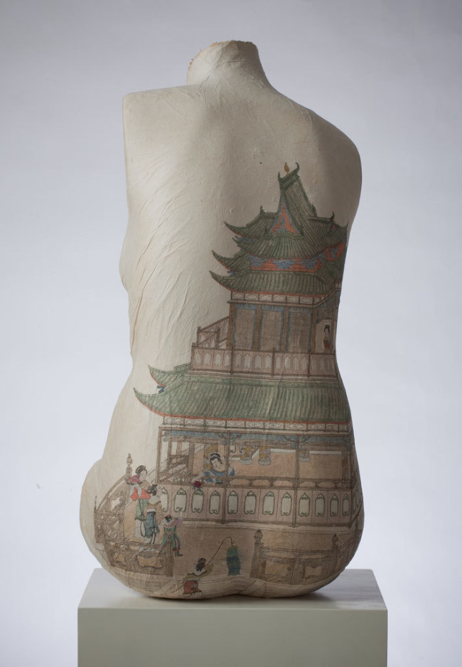 Peng Wei, Body Drawings, Paper Drawings, China, Epistrophy, Torso Back with a House