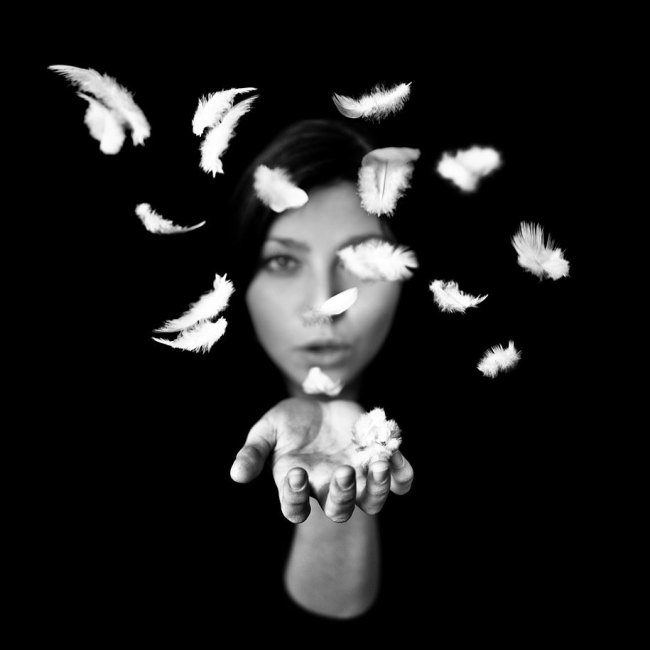 Black and White Photography, Epistrophy, girl blowing feathers, art, portraits