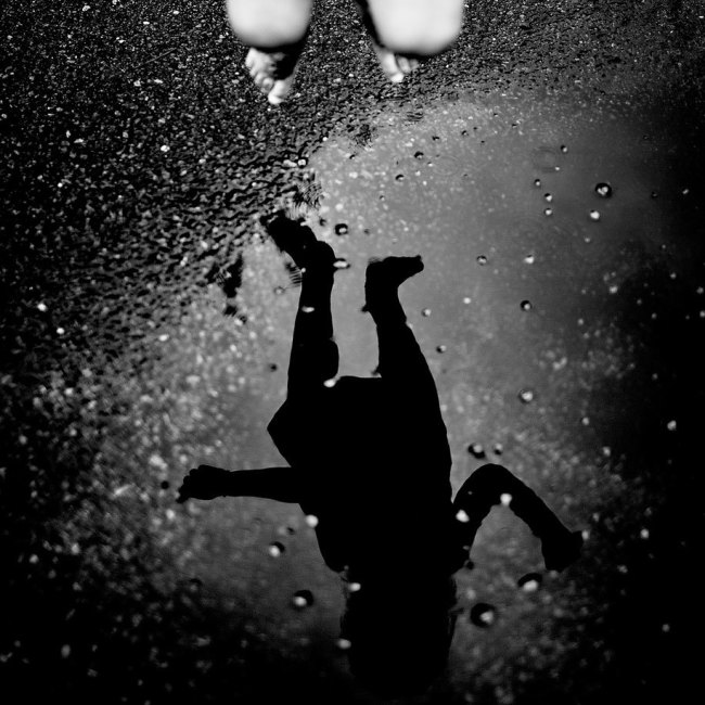 Black and White Photography, Epistrophy, kid jumping in water puddle, art, portraits