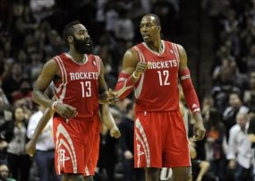 Dwight Howard and James Harden as Houston Rockets.