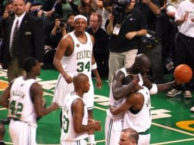 Paul Pierce, Kevin Garnett, Ray Allen as Celtics, Boston Celtics