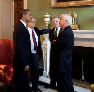 President Barack Obama Barney Frank, Dick Durbin, Chris Dodd