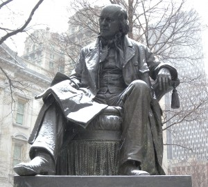 Horace Greeley Statue in City Hall Park, Manhattan