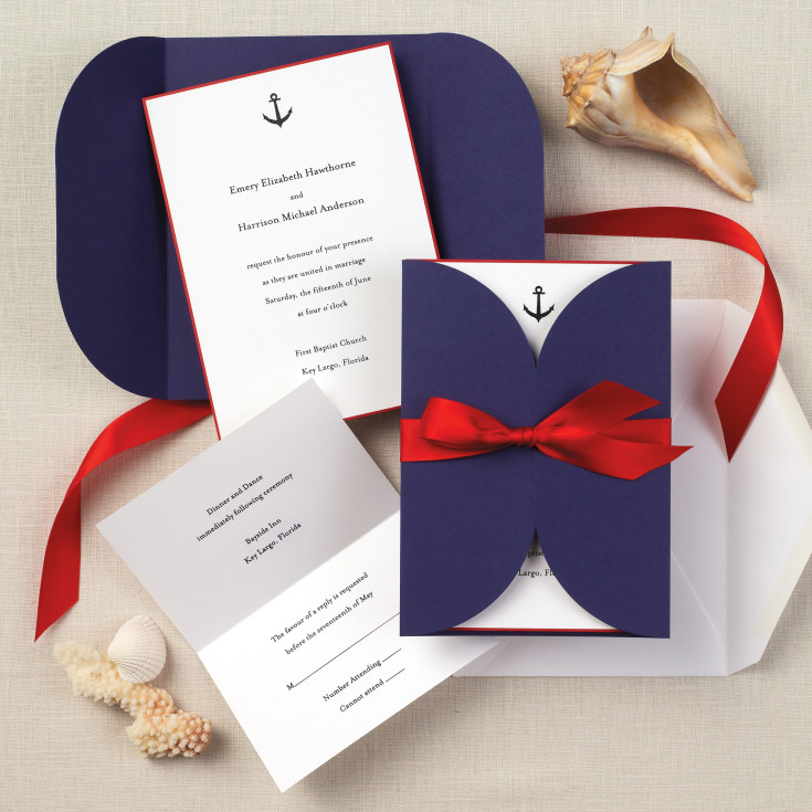 Nautical Beauty Wedding Invitation Beach Wedding Invitations