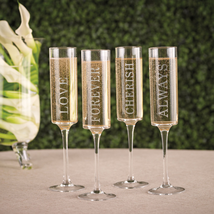 weddings wedding words contemporary toasting flutes set of 4
