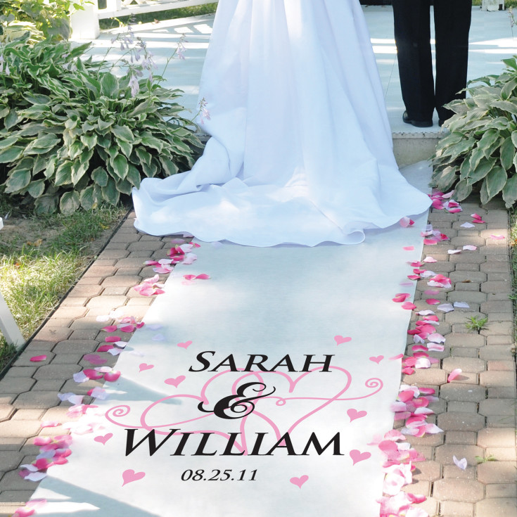 twin hearts personalized wedding aisle runner exclusively weddings