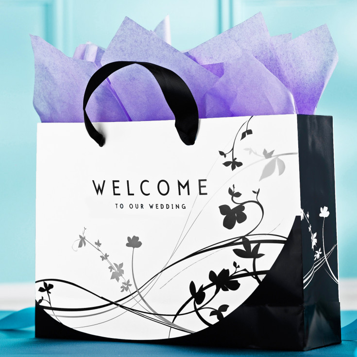 Wedding Gift Bag Cards : Exclusively Weddings Wedding Welcome Bags With Floral Design