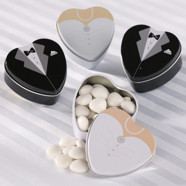Wedding Gift Ideas For Bride And Groom Singapore : Bride and Groom Favor Tins Wedding Favors