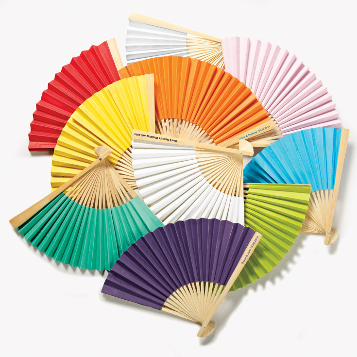 personalized paper fans These personalized paper fans are the chicest selections to color and create a cozy setting for your wedding and special occasions this season see the widest – and still growing – line-up of options to turn your much-needed paper hand fans into your own wedding paper fans, printed paper fans, promotional fans, photo printed fans, party favor fans, and a lot more, here on.