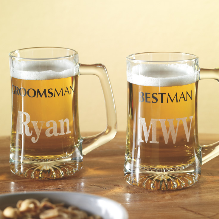 Engraved Wedding Mugs : Personalized Wedding Beer Mugs for Groomsmen