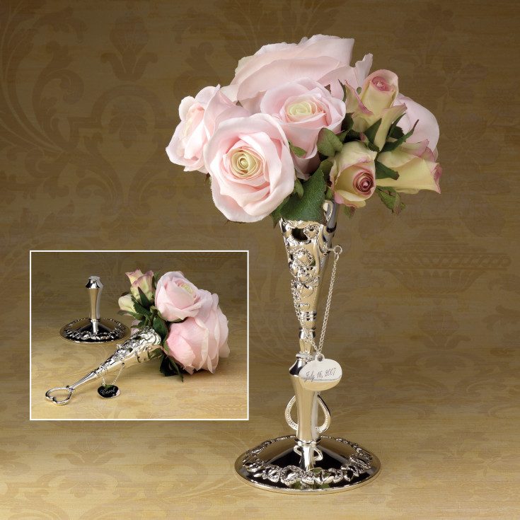 Silver Bridal Bouquet Holder : Victorian design bridal bouquet holder