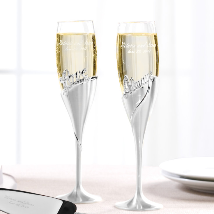 love always toasting flutes wedding toasting flutes