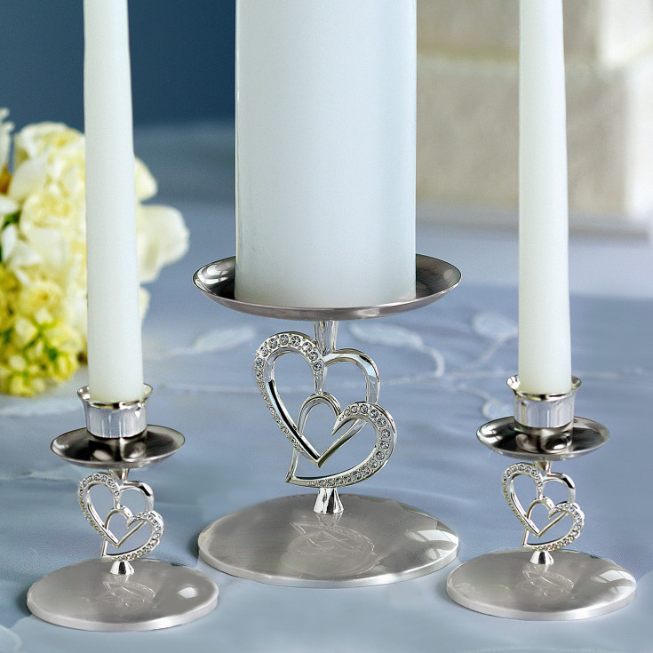 twin hearts unity candle holder 3 piece set