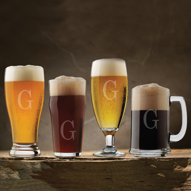 Exclusively weddings personalized craft brew 4 piece for Craft brew beer tasting glasses