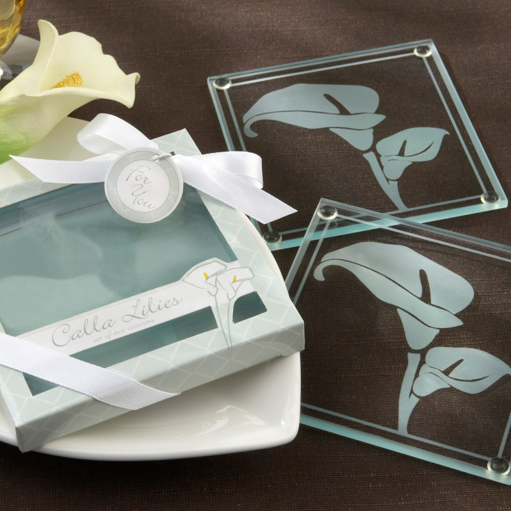 Calla Lilies Frosted Glass Coasters Wedding Favor
