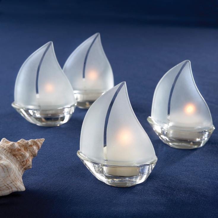 Exclusively Weddings Frosted Glass Sailboat Tealight Holders