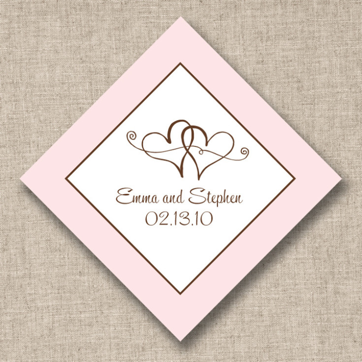 Personalized Wedding Favor Tags, Twin Hearts, Designs by EW