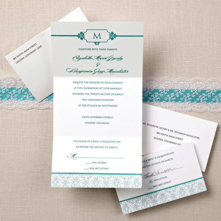 Damask Seal And Send Wedding Invitation